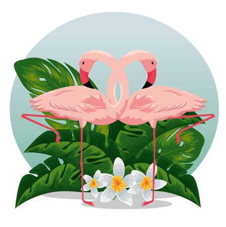 flamingos with tropical flowers and exotic leaves vector illustration 向量圖像
