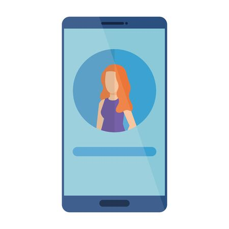 woman acount social in smartphone device character vector illustration design 일러스트