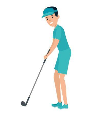 happy athletic boy practicing golf vector illustration design Reklamní fotografie - 133151856