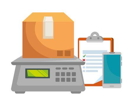 box carton with digital balance and checklist vector illustration design