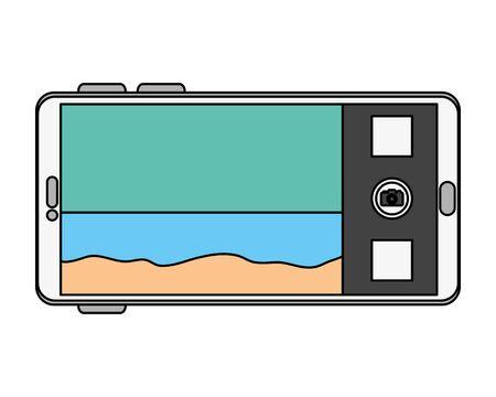 smartphone with summer beach seascape scene vector illustration design Stockfoto - 133114442