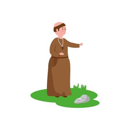 Monk fantasy magie vecteur icône isolé illustration design