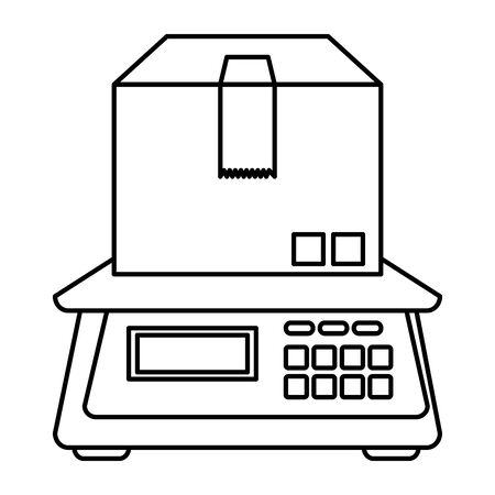 box carton packing with digital balance vector illustration design