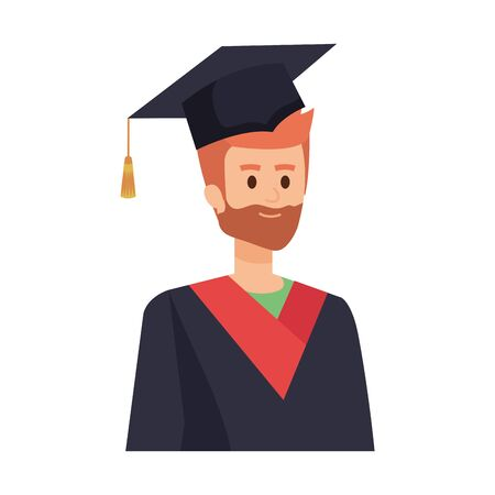 young man student graduated with beard vector illustration design Banque d'images - 133151533