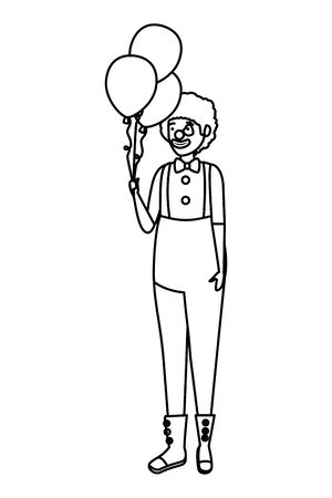 circus clown with balloons helium comic character vector illustration design  イラスト・ベクター素材
