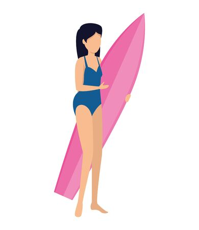 beautiful woman with swimsuit and surfboard vector illustration design
