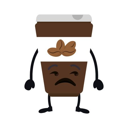 coffee container kawaii character vector illustration design Standard-Bild - 133151410