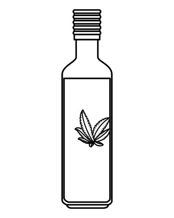 bottle with cannabis oil product vector illustration design Illusztráció