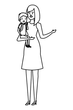 beautiful mother with little son characters vector illustration design Standard-Bild - 133151346