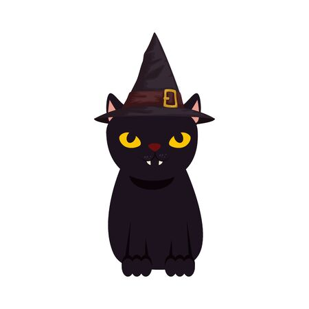 black cat halloween with hat witch vector illustration design