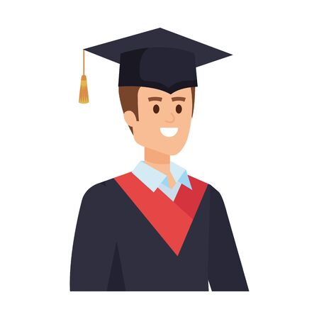 young man student graduated with hat vector illustration design Banque d'images - 133151307