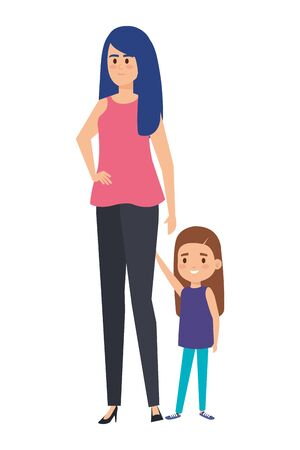 beautiful mother with little daughter characters vector illustration design