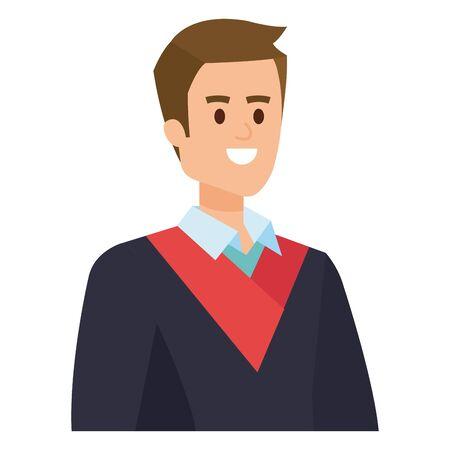young man student graduated vector illustration design Banque d'images - 133151194