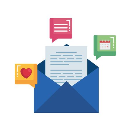 envelope mail with social media icons vector illustration design