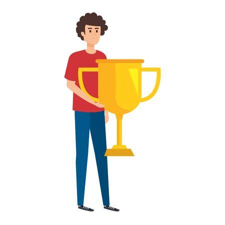 young man lifting trophy cup award vector illustration design Archivio Fotografico - 133150984