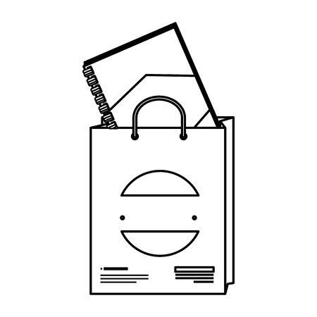 shopping bag and notebook with company emblem vector illustration design Illustration