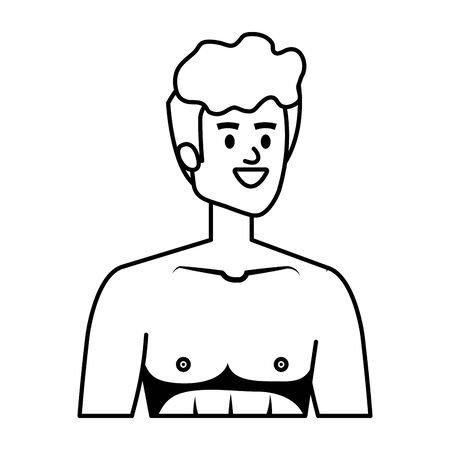 young man shirtless avatar character vector illustration design Banque d'images - 133150937