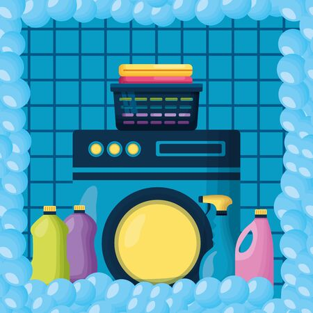 washing machine laundry products spring cleaning tools vector illustration