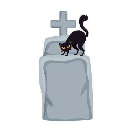 halloween tomb with cat black isolated icon vector illustration design