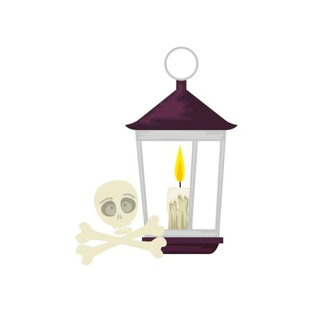 lantern light hanging with skull and bones vector illustration design Illustration