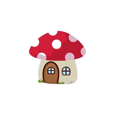 fungus house fairytale isolated icon vector illustration design 向量圖像