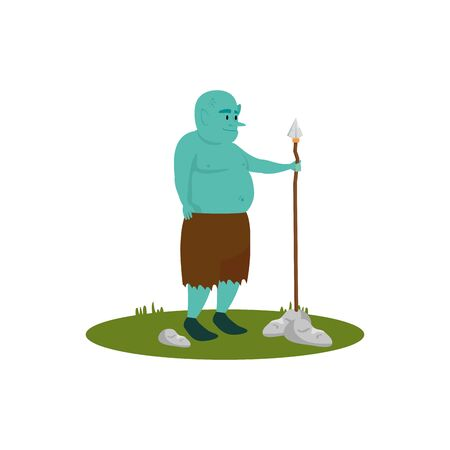 ogre fantasy magic with spear vector illustration design