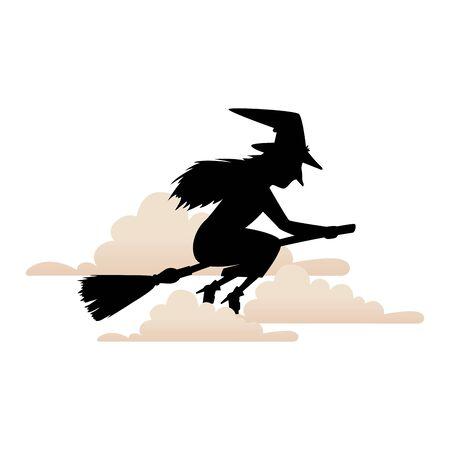 Silueta de bruja volando en escoba icono aislado diseño ilustración vectorial