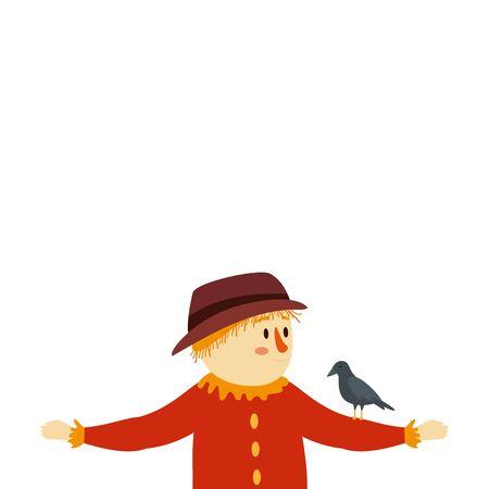 scarecrow with crow bird character fairytale vector illustration design Illusztráció