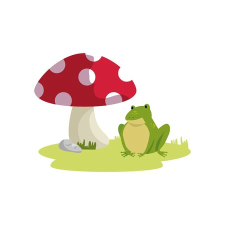 fungus plant with frog fairytale isolated icon vector illustration design 向量圖像