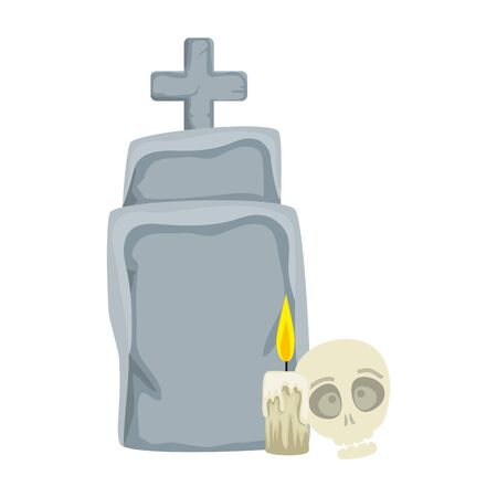 halloween tomb with skull and candle vector illustration design