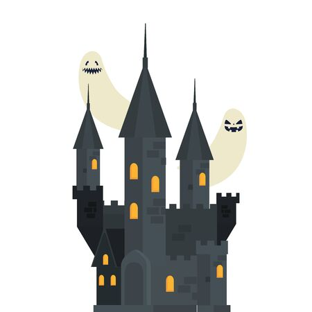 halloween haunted castle with ghosts vector illustration design