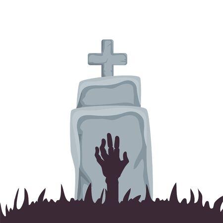halloween tomb with hand zombie vector illustration design