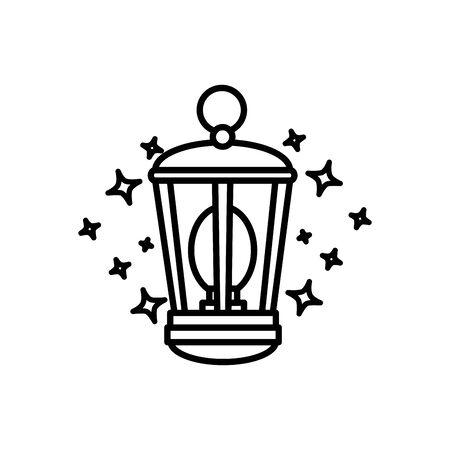 Diseño de ilustración de vector de icono aislado de equipo de linterna de queroseno