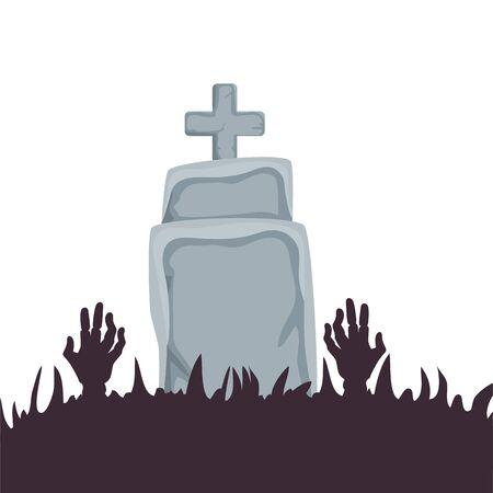 halloween tomb with hands zombie vector illustration design Ilustracja