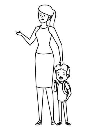 beautiful mother with little son characters vector illustration design Standard-Bild - 133150393