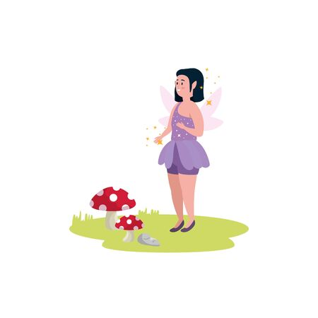 magic fairy story with fungus isolated icon vector illustration design