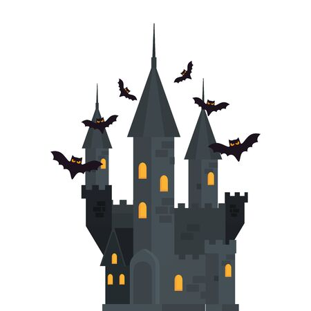 halloween haunted castle with bats flying vector illustration design