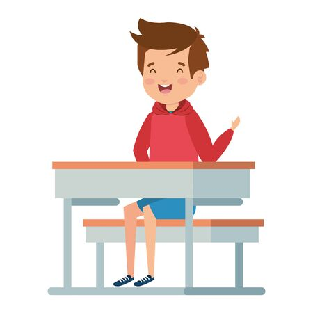 happy student boy seated in school desk vector illustration design Foto de archivo - 133150572