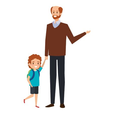 happy student boy with male teacher vector illustration design