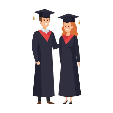 young couple students graduated characters vector illustration design Banque d'images - 133150356