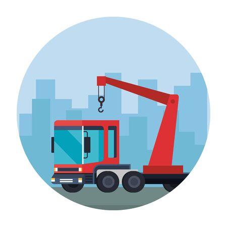 truck crane service vehicle icon vector illustration design Illustration