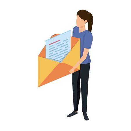 young woman lifting envelope mail send vector illustration design Иллюстрация