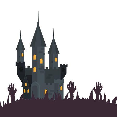 halloween haunted castle with hands zombie vector illustration design 일러스트