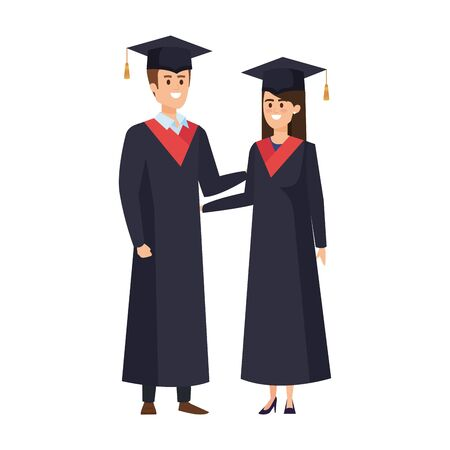 young couple students graduated characters vector illustration design Banque d'images - 133150366