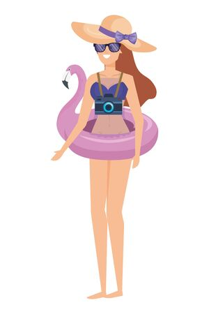 beautiful girl with flemish float and camera photographic vector illustration design Banque d'images - 133150367
