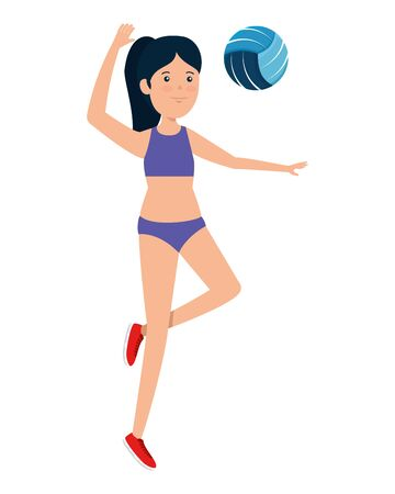 happy athletic girl practicing volleyball vector illustration design