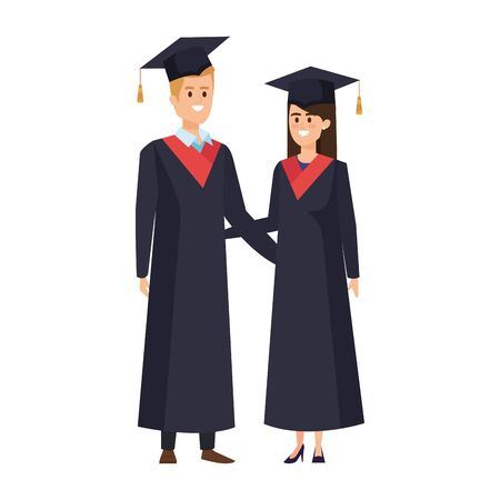 young couple students graduated characters vector illustration design Banque d'images - 133149970