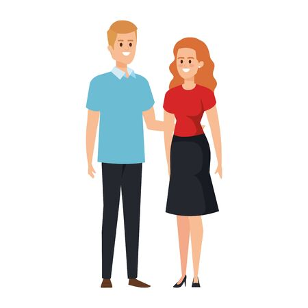 young couple lovers avatars characters vector illustration design Standard-Bild - 133149977