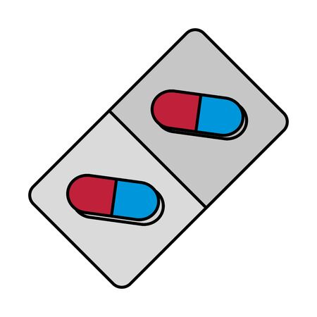 capsules drugs medial isolated icon vector illustration design Çizim
