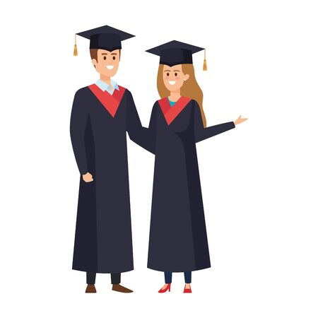 young couple students graduated characters vector illustration design Banque d'images - 133149427